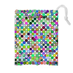 Colorful Dots Balls On White Background Drawstring Pouches (extra Large) by Simbadda
