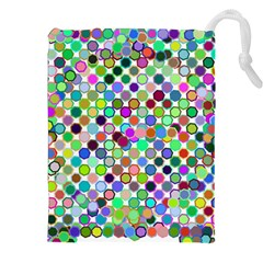 Colorful Dots Balls On White Background Drawstring Pouches (xxl) by Simbadda
