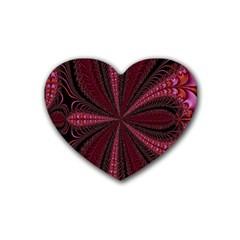 Red Ribbon Effect Newtonian Fractal Rubber Coaster (heart)  by Simbadda