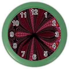 Red Ribbon Effect Newtonian Fractal Color Wall Clocks by Simbadda