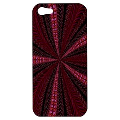 Red Ribbon Effect Newtonian Fractal Apple Iphone 5 Hardshell Case by Simbadda