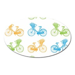 Vintage Bikes With Basket Of Flowers Colorful Wallpaper Background Illustration Oval Magnet by Simbadda