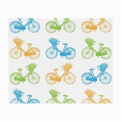 Vintage Bikes With Basket Of Flowers Colorful Wallpaper Background Illustration Small Glasses Cloth (2 Side) by Simbadda