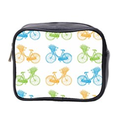 Vintage Bikes With Basket Of Flowers Colorful Wallpaper Background Illustration Mini Toiletries Bag 2 Side