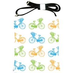 Vintage Bikes With Basket Of Flowers Colorful Wallpaper Background Illustration Shoulder Sling Bags by Simbadda