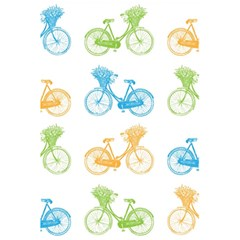 Vintage Bikes With Basket Of Flowers Colorful Wallpaper Background Illustration 5 5  X 8 5  Notebooks by Simbadda