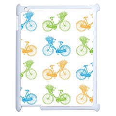 Vintage Bikes With Basket Of Flowers Colorful Wallpaper Background Illustration Apple Ipad 2 Case (white) by Simbadda