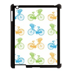 Vintage Bikes With Basket Of Flowers Colorful Wallpaper Background Illustration Apple Ipad 3/4 Case (black) by Simbadda