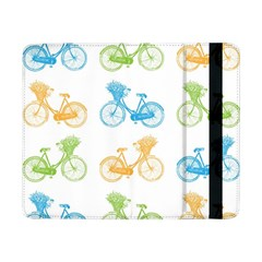 Vintage Bikes With Basket Of Flowers Colorful Wallpaper Background Illustration Samsung Galaxy Tab Pro 8 4  Flip Case by Simbadda
