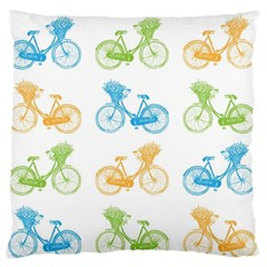Vintage Bikes With Basket Of Flowers Colorful Wallpaper Background Illustration Standard Flano Cushion Case (one Side)