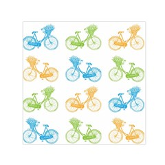 Vintage Bikes With Basket Of Flowers Colorful Wallpaper Background Illustration Small Satin Scarf (square) by Simbadda