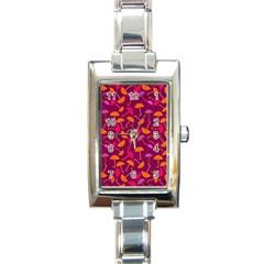 Umbrella Seamless Pattern Pink Lila Rectangle Italian Charm Watch by Simbadda