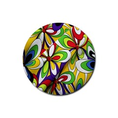 Colorful Textile Background Rubber Coaster (round)  by Simbadda