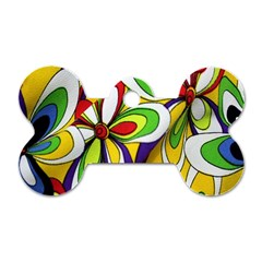 Colorful Textile Background Dog Tag Bone (two Sides) by Simbadda