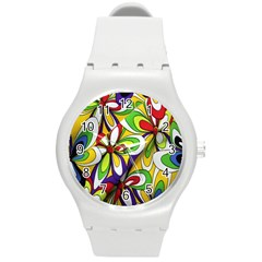 Colorful Textile Background Round Plastic Sport Watch (m) by Simbadda