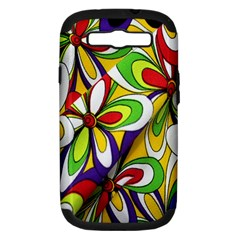 Colorful Textile Background Samsung Galaxy S Iii Hardshell Case (pc+silicone) by Simbadda
