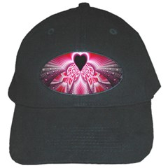Illuminated Red Hear Red Heart Background With Light Effects Black Cap by Simbadda
