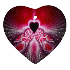 Illuminated Red Hear Red Heart Background With Light Effects Ornament (heart) by Simbadda