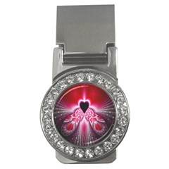 Illuminated Red Hear Red Heart Background With Light Effects Money Clips (cz)  by Simbadda