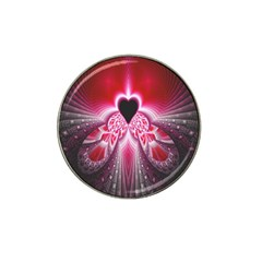 Illuminated Red Hear Red Heart Background With Light Effects Hat Clip Ball Marker (10 Pack) by Simbadda