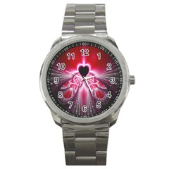 Illuminated Red Hear Red Heart Background With Light Effects Sport Metal Watch by Simbadda