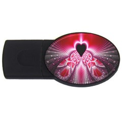 Illuminated Red Hear Red Heart Background With Light Effects Usb Flash Drive Oval (4 Gb) by Simbadda