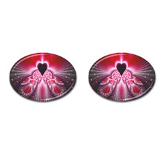 Illuminated Red Hear Red Heart Background With Light Effects Cufflinks (oval) by Simbadda
