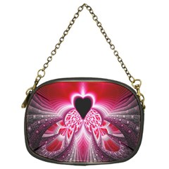 Illuminated Red Hear Red Heart Background With Light Effects Chain Purses (one Side)  by Simbadda