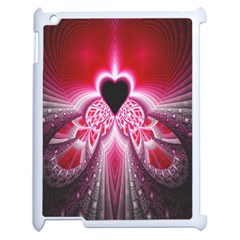 Illuminated Red Hear Red Heart Background With Light Effects Apple Ipad 2 Case (white) by Simbadda