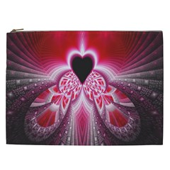 Illuminated Red Hear Red Heart Background With Light Effects Cosmetic Bag (xxl)  by Simbadda