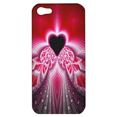 Illuminated Red Hear Red Heart Background With Light Effects Apple iPhone 5 Hardshell Case by Simbadda