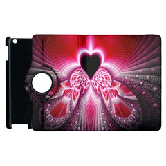 Illuminated Red Hear Red Heart Background With Light Effects Apple Ipad 2 Flip 360 Case by Simbadda