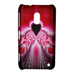 Illuminated Red Hear Red Heart Background With Light Effects Nokia Lumia 620 by Simbadda