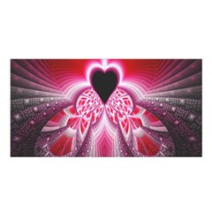 Illuminated Red Hear Red Heart Background With Light Effects Satin Shawl by Simbadda