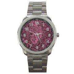 Abstract Purple Background Natural Motive Sport Metal Watch by Simbadda