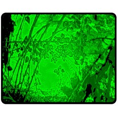 Leaf Outline Abstract Double Sided Fleece Blanket (medium)  by Simbadda