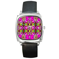 Colourful Abstract Background Design Pattern Square Metal Watch by Simbadda