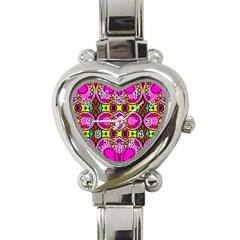 Colourful Abstract Background Design Pattern Heart Italian Charm Watch by Simbadda