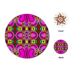 Colourful Abstract Background Design Pattern Playing Cards (round)  by Simbadda