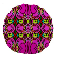Colourful Abstract Background Design Pattern Large 18  Premium Flano Round Cushions by Simbadda