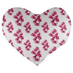 Santa Rita Flowers Pattern Large 19  Premium Heart Shape Cushions by dflcprints