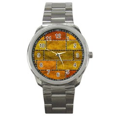 Classic Color Bricks Gradient Wall Sport Metal Watch by Simbadda