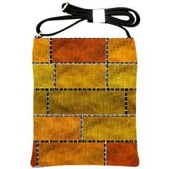Classic Color Bricks Gradient Wall Shoulder Sling Bags by Simbadda