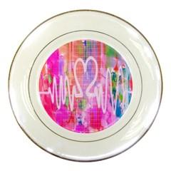 Watercolour Heartbeat Monitor Porcelain Plates by Simbadda