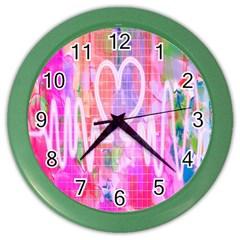 Watercolour Heartbeat Monitor Color Wall Clocks by Simbadda