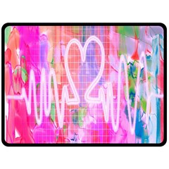Watercolour Heartbeat Monitor Double Sided Fleece Blanket (large)  by Simbadda