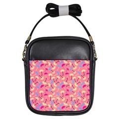 Umbrella Seamless Pattern Pink Girls Sling Bags by Simbadda
