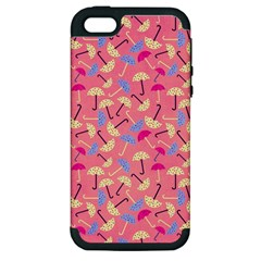 Umbrella Seamless Pattern Pink Apple Iphone 5 Hardshell Case (pc+silicone)