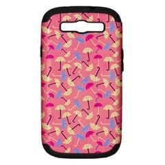 Umbrella Seamless Pattern Pink Samsung Galaxy S Iii Hardshell Case (pc+silicone) by Simbadda