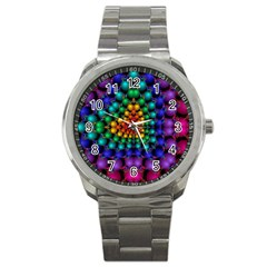 Mirror Fractal Balls On Black Background Sport Metal Watch by Simbadda